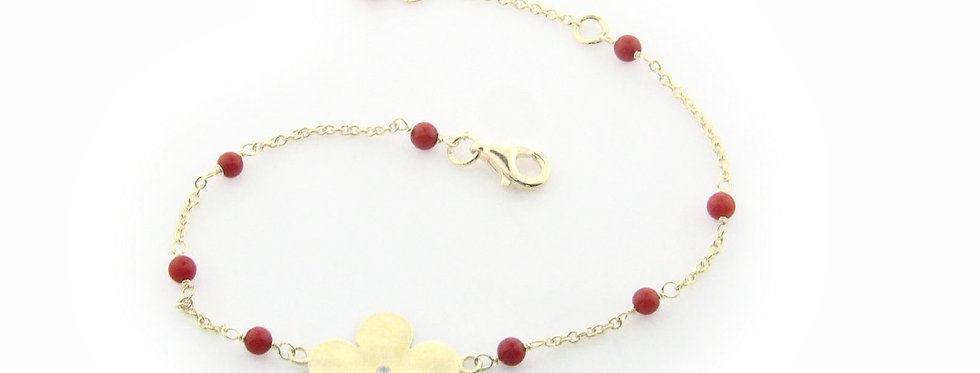 .925 Sterling Silver Hammered Flower and Coral Bracelet Dipped in Gold, 6""