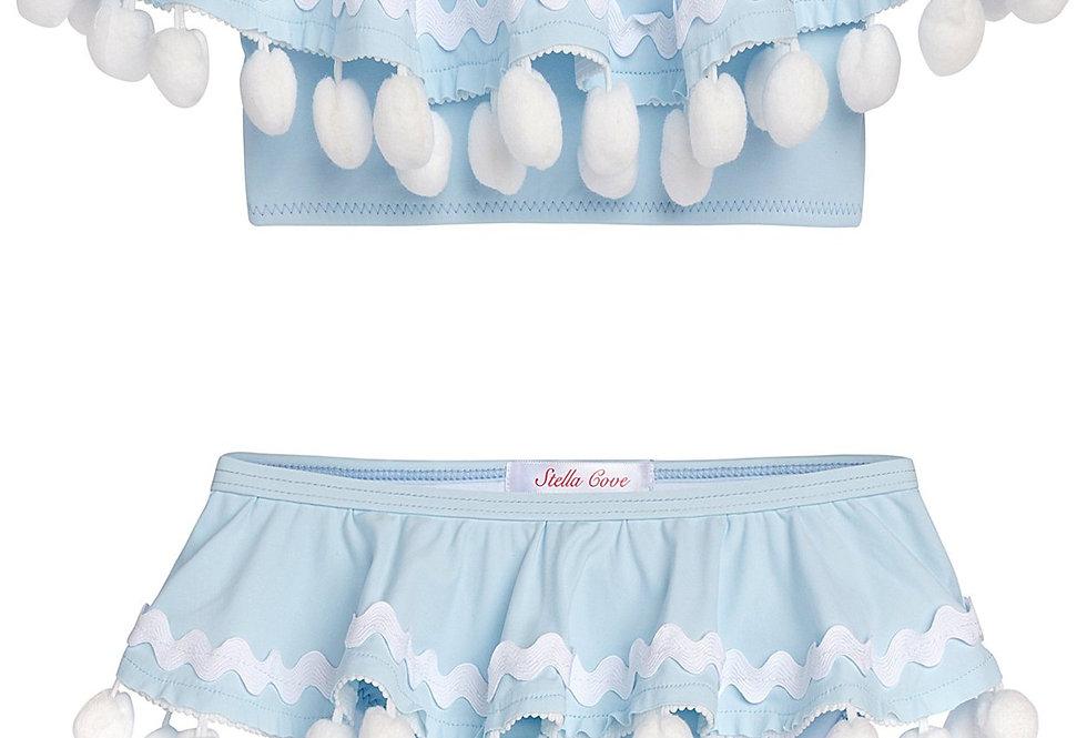 Blue Draped Bikini With White Pom Poms