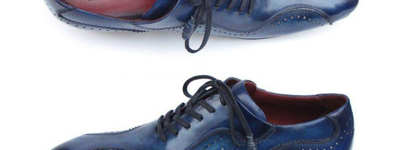 Paul Parkman Handmade Lace-Up Casual Shoes for Men Blue (ID#84654-BLU)