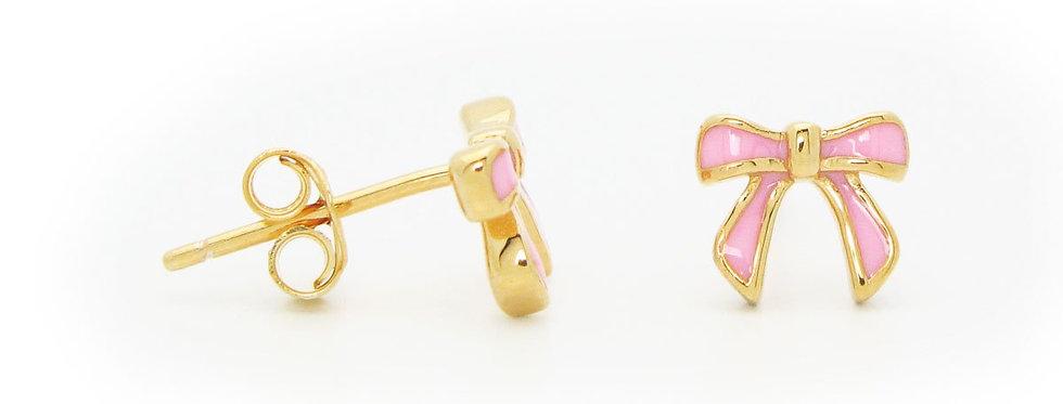 BecKids Girls Pink Enamel Ribbon Stud Earrings 5mm
