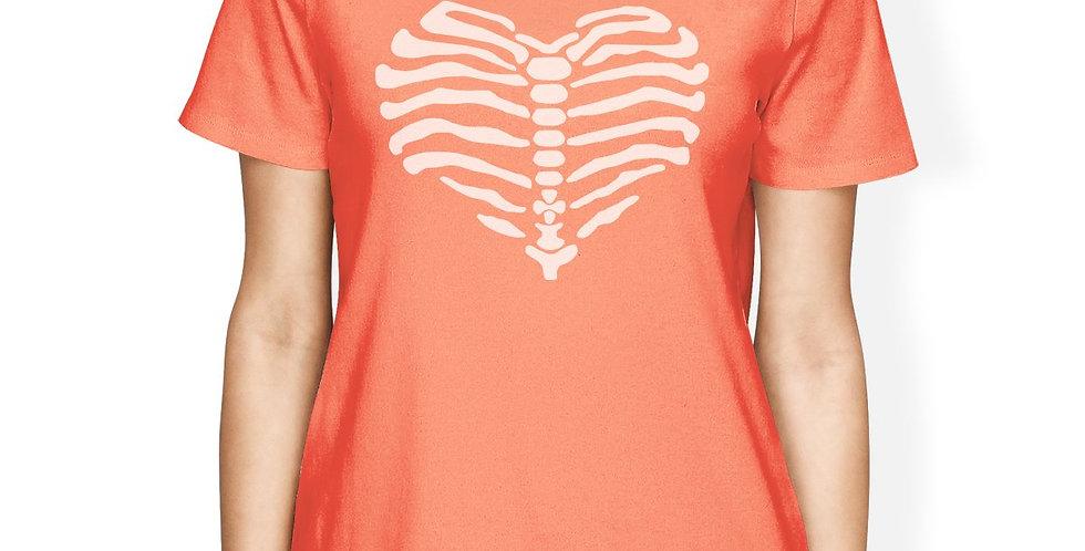 Skeleton Heart Womens Peach Shirt