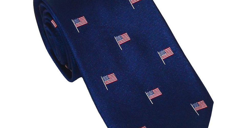 American Flag Necktie - Red White and Blue on Navy, Woven Silk - Spread