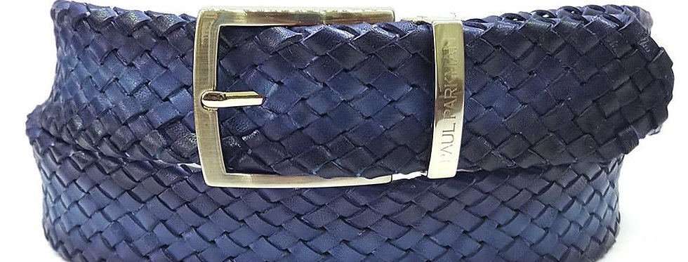 PAUL PARKMAN Men's Woven Leather Belt Navy (ID#B07-NAVY)