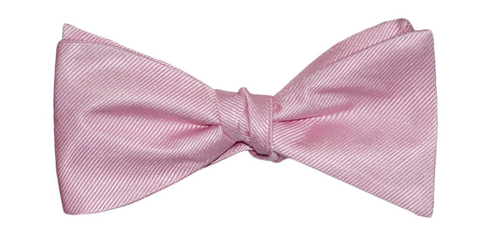 Solid Color Bow Tie - Pink, Woven Silk, Adult