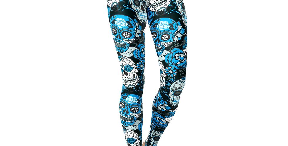 Jean Blue Sugar Skulls