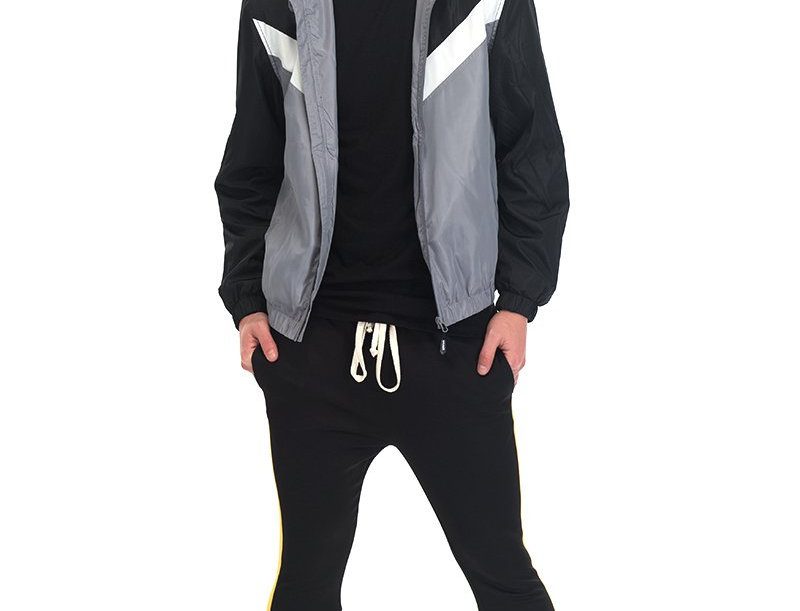 NYLON TRACK JACKET- BLACK/GREY