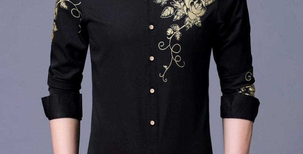Mens Slim Fit Long Sleeve Floral Shirt