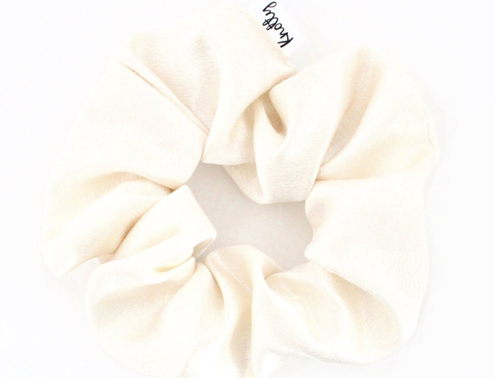 Washed Satin Hair Scrunchie, Cream