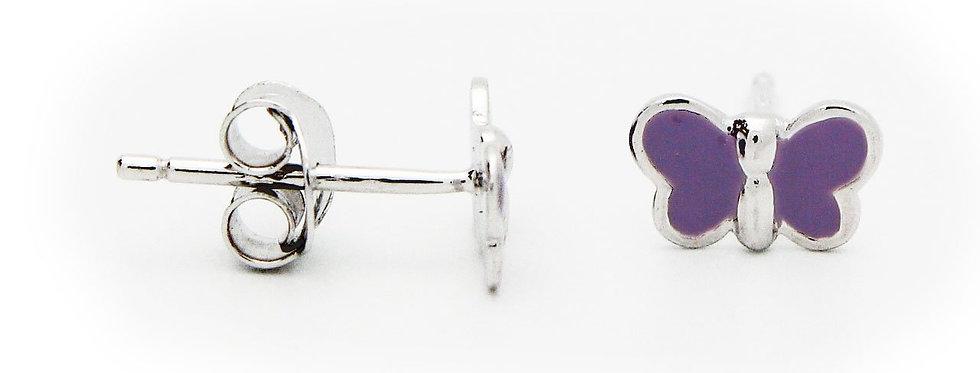 Silver Rhodium Plated Purple Enamel 6mm Butterfly Stud Earrings