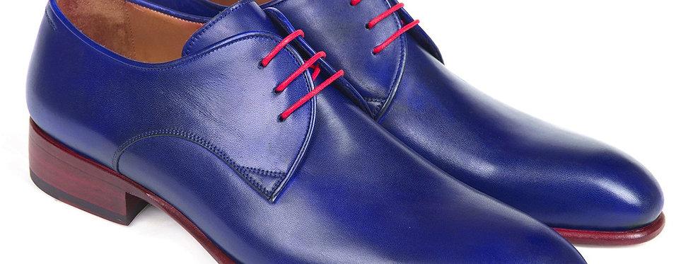 Paul Parkman Blue Hand Painted Derby Shoes (ID#633BLU13)