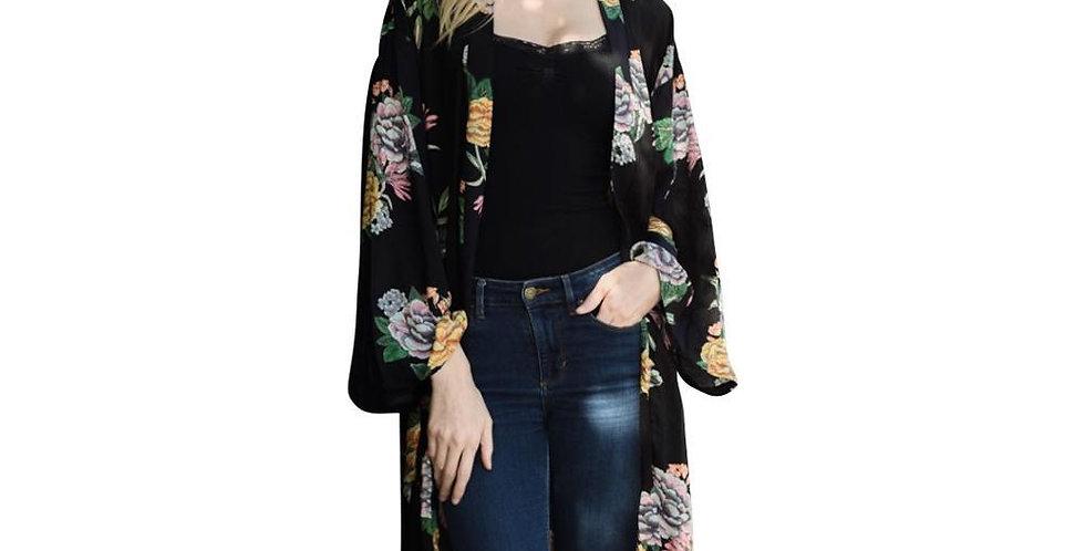 Beautiful Black Peony Floral Kimono
