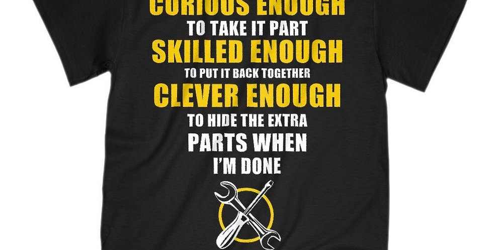 Curious Skilled Clever Punny Short Sleeve Crew Neck T-Shirt