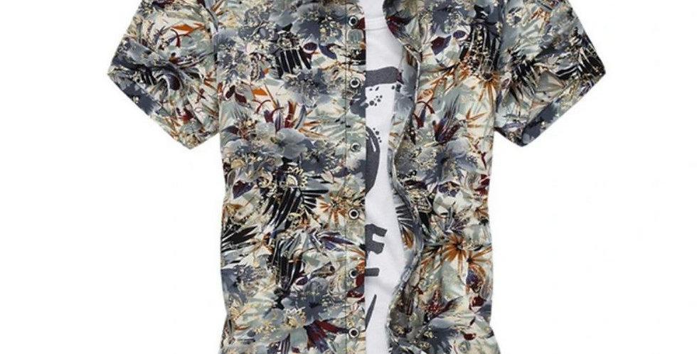 Mens Artistic Print Button Front Short Sleeve Shirt