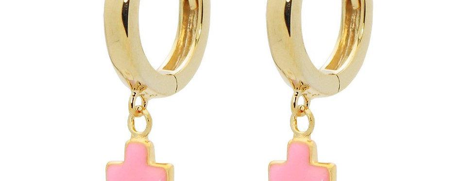 Mini Huggie Girls Earrings With Pink Enamel Cross in Vermeil