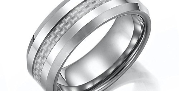 Men's Ring, Tungsten Men's Ring With Woven Texture Strip, Holiday Gift for Men