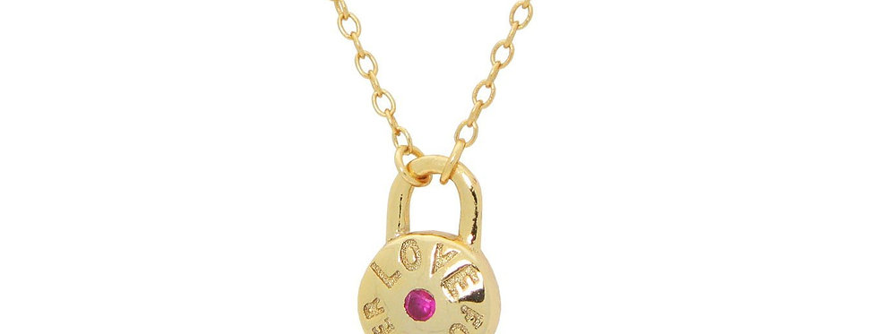 """Red Cz Love Forever Lock Pendant Necklace in Gold Plated SIlver 16""""+ 2"""""""