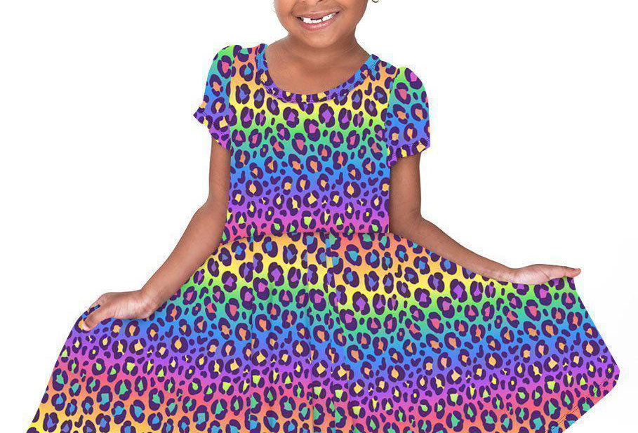 Rainbow Leopard Hugs Collection Dress - RTS