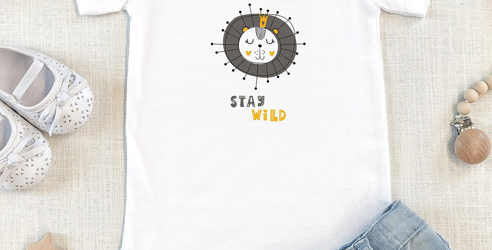 Stay Wild Organic Cotton Short Sleeve Baby Bodysuit