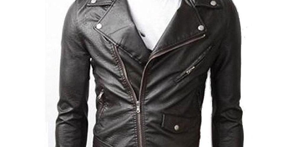 Ninja Stealth Black Mens  Faux Leather Biker Jacket