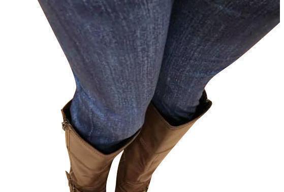 Blue Faux Jean Yoga Band Leggings - RTS