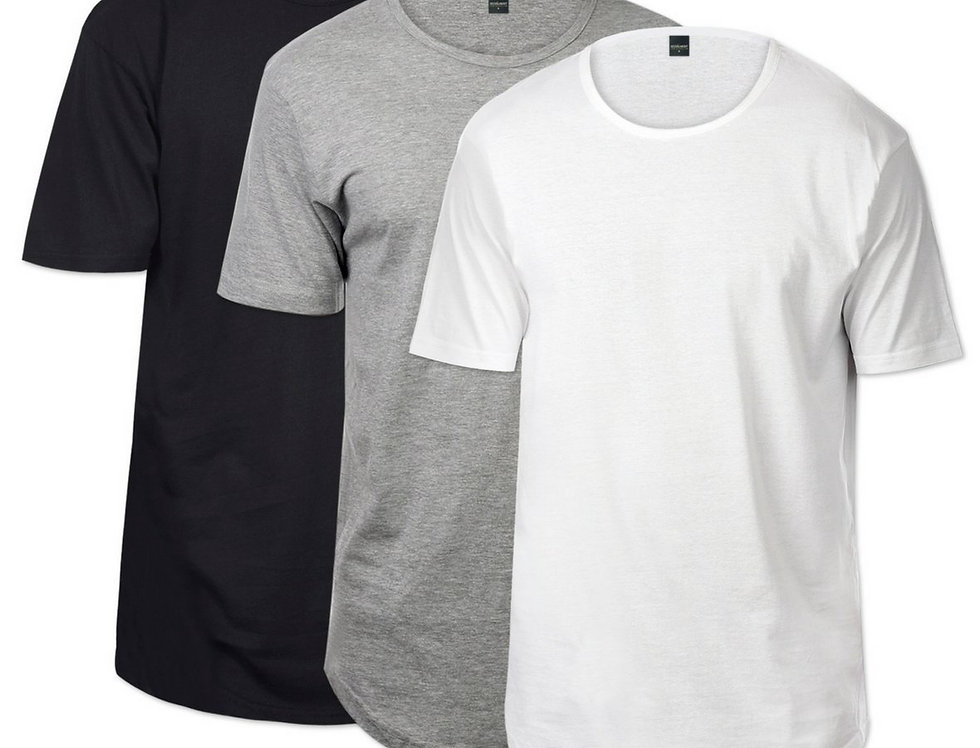 CB Tall Scallop Bottom Tee 3 Pack (Black & Heather Grey & White)