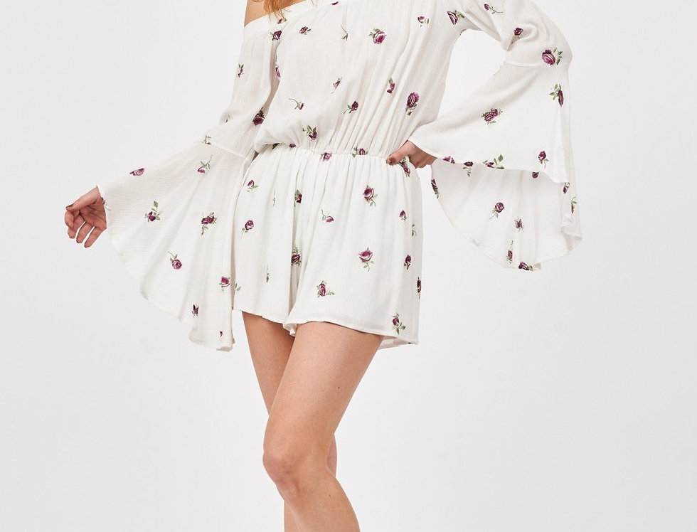 Embroider Floral Flounce Sleeves Romper