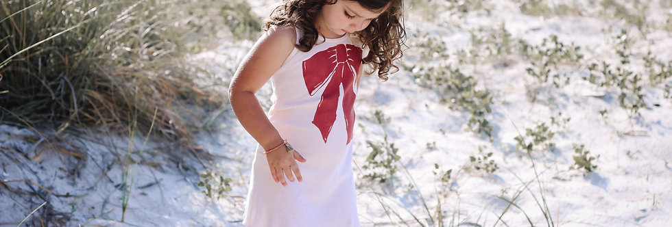 Ruffled rib tank dress- Ribbon print