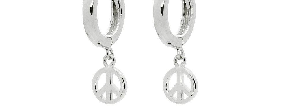 Mini Huggie Girls Earrings Peace Sign in Sterling Silver