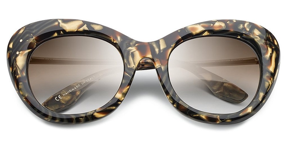 Faye: Polished Tigers Eye - Brushed Gold / Bronze Gradient Lens