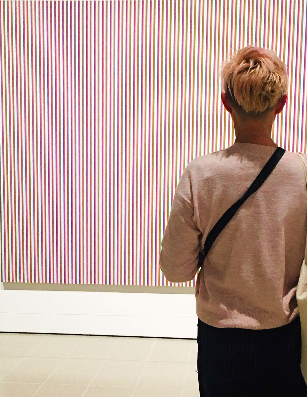standing in front of Bridget Riley painting 'late morning'