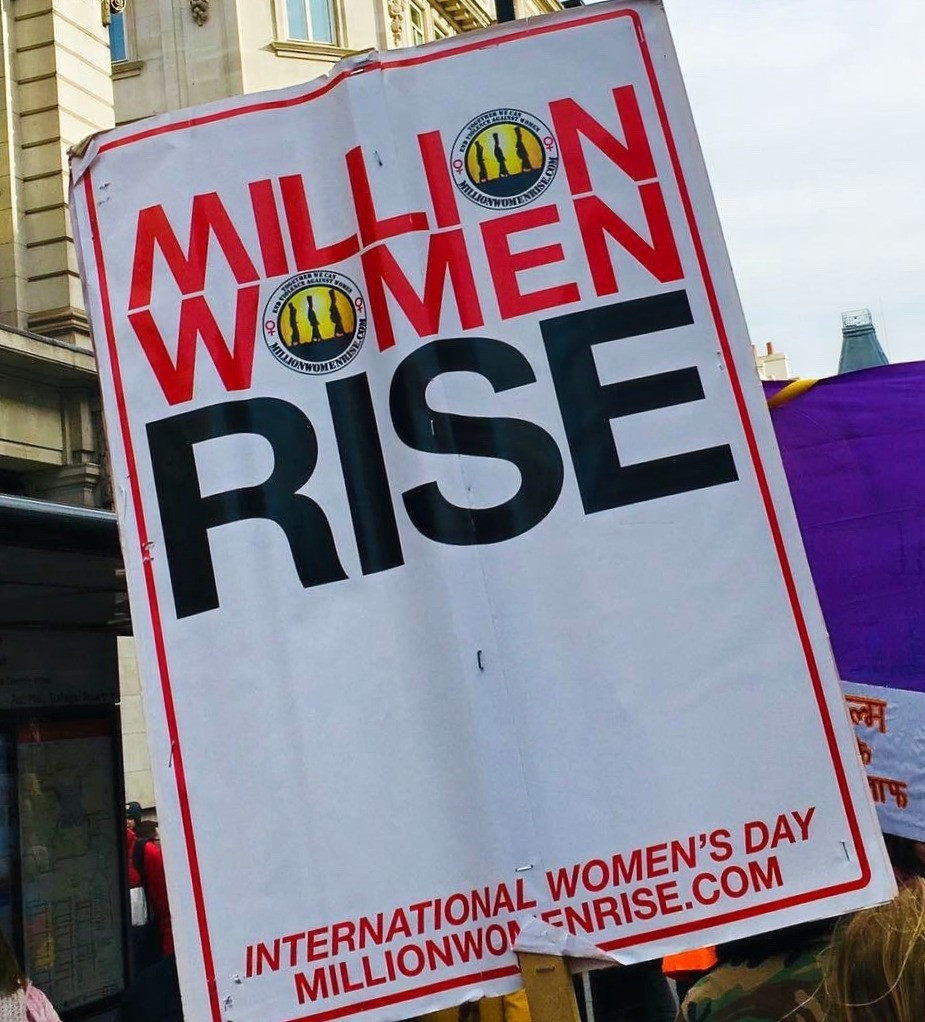 Million Women Rise sign at International Women's Day march_2020