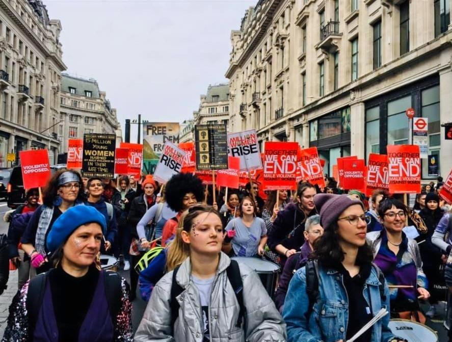 Million Women Rise Feminist March Drummers London 2020