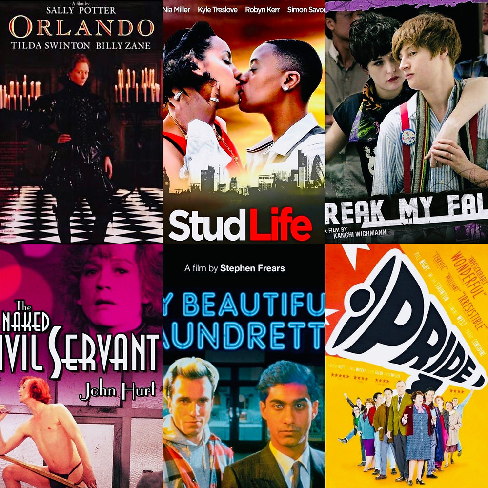 film posters for Orlando, stud life, break my fall, the naked civil, servant my beautiful laundrette, pride