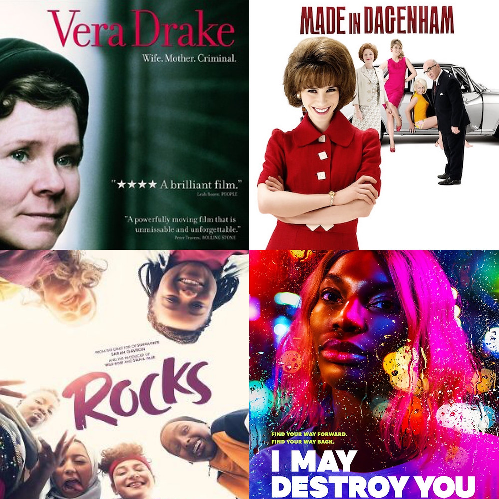 Film posters for Vera Drake, Made in Dagenham, Rocks and I May Destroy You