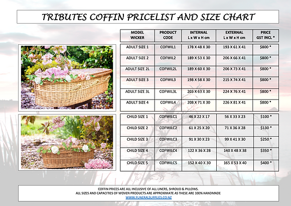 Coffin Sizes and Pricelist