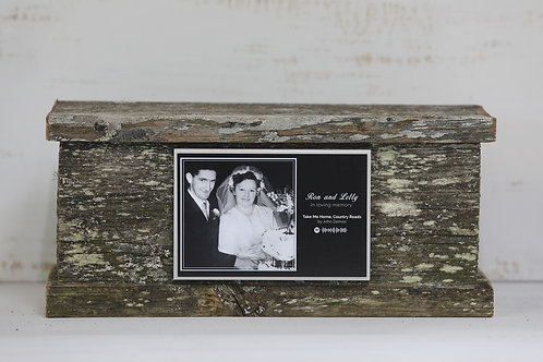 remembrance photo spotify music ceramic tile on cremation ash urn ©tributesfuneralsupplies