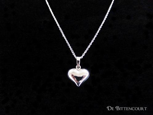 Silver Puff Heart Necklace - Medium