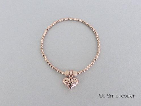 Rose Gold Patterned Heart Bracelet