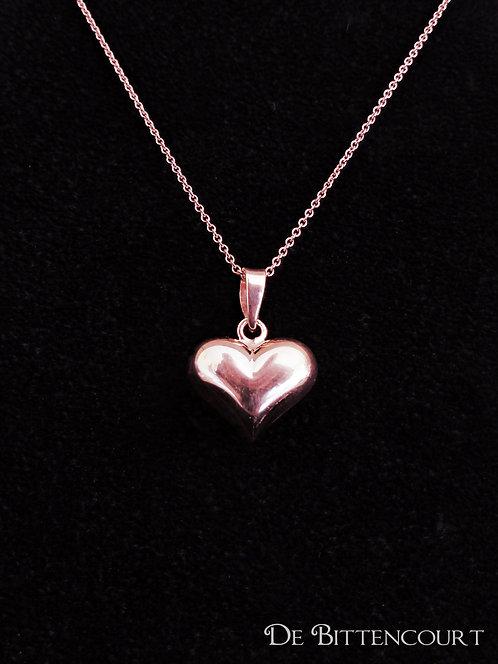 Rose Gold Puff Heart Necklace