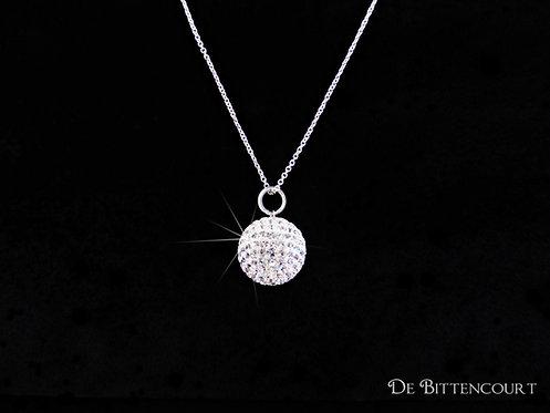 Silver Diamante Ball Necklace - Large
