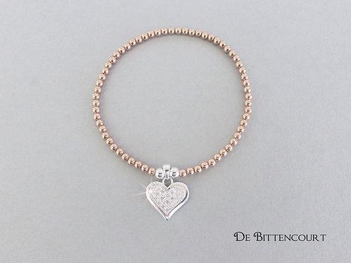 Rose Gold Sparkle Heart Bracelet