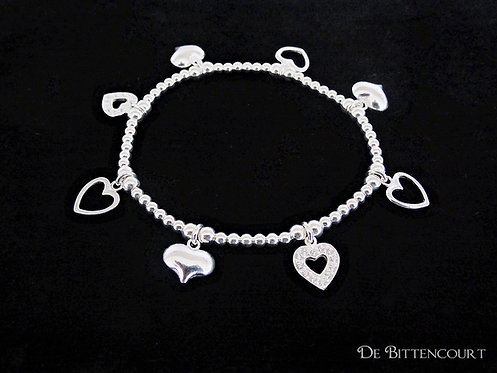 Classic Multi-Heart Charm Bracelet