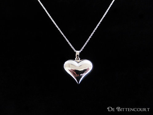 Silver Puff Heart Necklace - Large