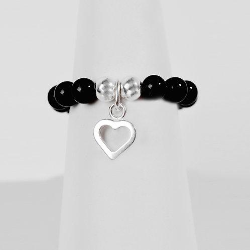 Black Onyx & Open Heart Ring