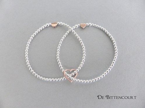 Trio  Hearts Bracelet - Rose Gold & Silver