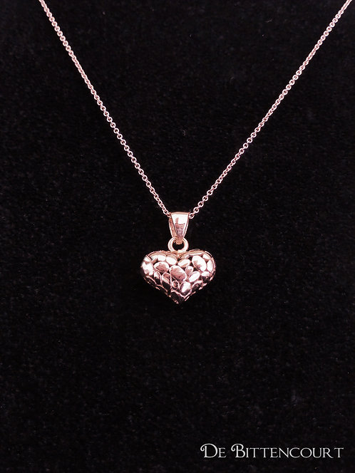Patterned Rose Gold Heart Necklace - Small
