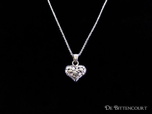 Patterned Silver Heart Necklace - Small