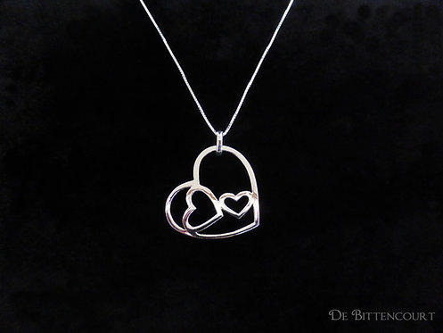 Silver Hearts within a Heart Necklace