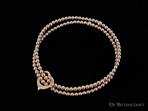 Open Heart Rose Gold Double Bracelet