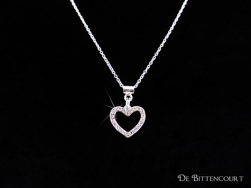 Silver Diamante Open Heart Necklace
